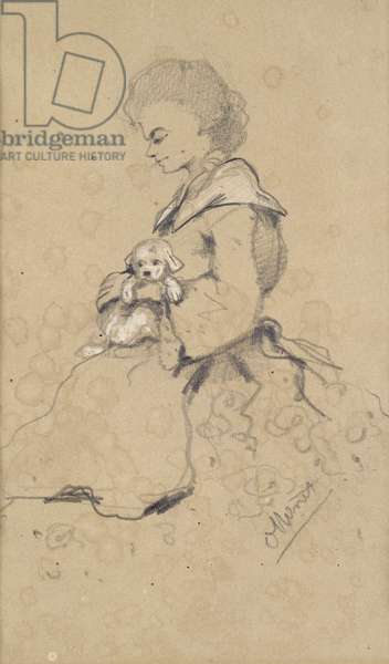 Women holding a small dog, 1857 (black & white chalk on paper)