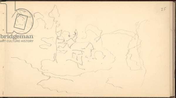 Hamlet on the hillside, 1895 (pencil on paper)