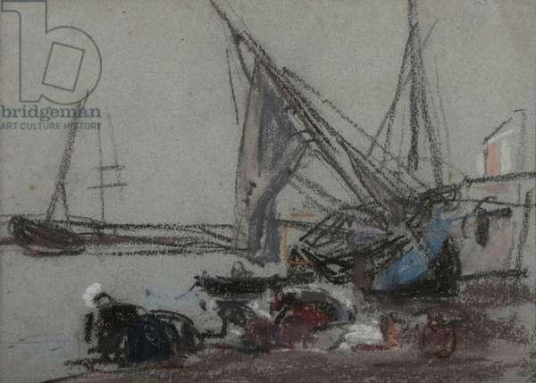 Washerwomen near beached boats (pastel)