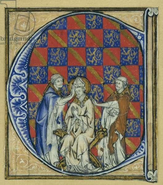 Historiated initial 'C' depicting the ordination of a bishop, c.1320-30 (vellum)