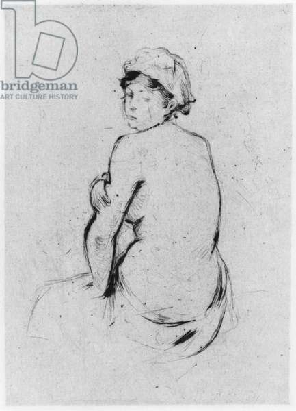 Female nude seen from behind, 1889 (drypoint)