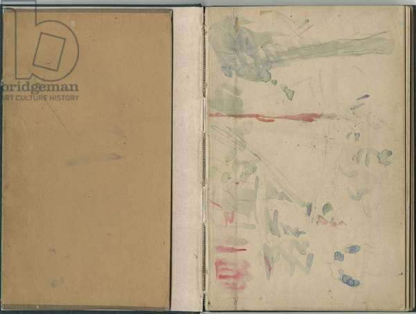 Inside cover and front page from a sketchbook, 1885-86 (pencil & w/c on paper)