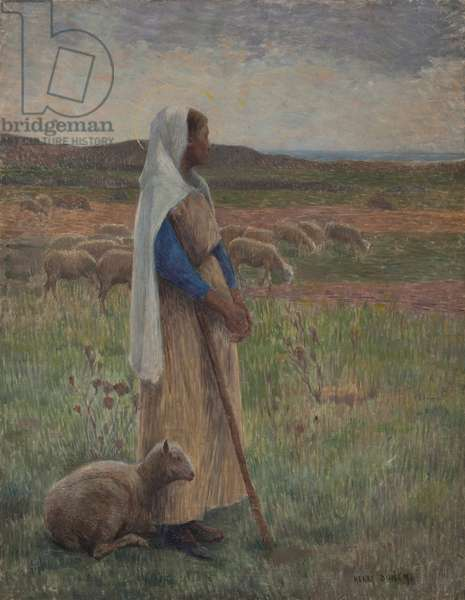 Shepherdess with her sheep (oil on canvas)