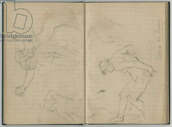 Diana at the bath, from a sketchbook, 1886 (pencil on paper)