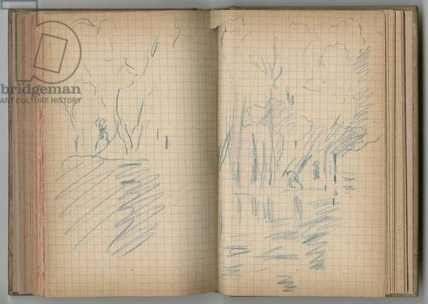 Landscape, from a sketchbook, 1885, 1887-88 (blue pencil on paper)