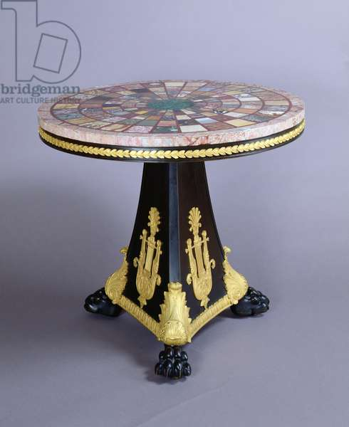 Gueridon table, c.1804-15 (gilded wood and marble)