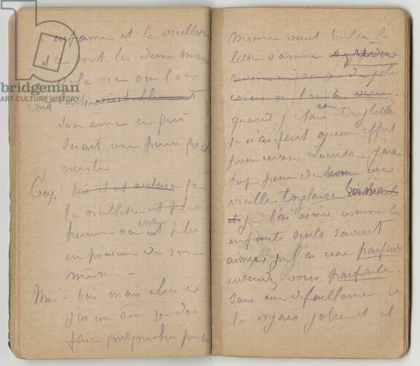 Handwritten pages, from a sketchbook, Mezy, 1890-92 (pencil on paper)