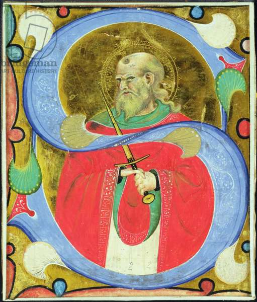Historiated initial 'S' depicting St. Julian (vellum)