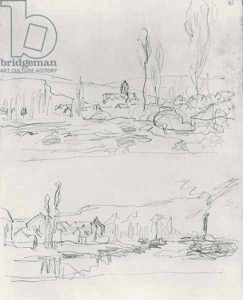 Two Sketches: Vetheuil from L'Ile St-Martin and Tugboat on the Seine before Lavacourt, before 1886 (pencil on paper) (b/w photo)