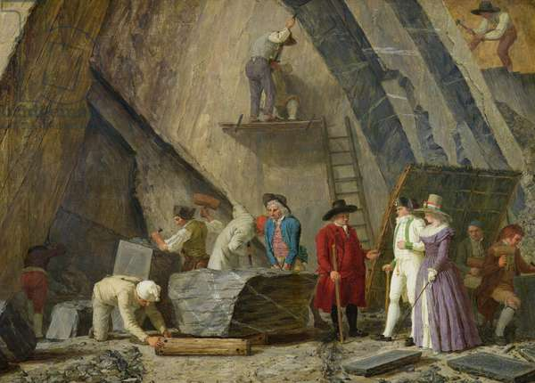 Extracting Sainte-Anne Marble from a Quarry (oil on canvas)