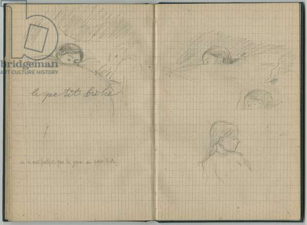 Young girl sleeping, 'le petit biche', and profile, from a sketchbook, 1886 (pencil on paper)