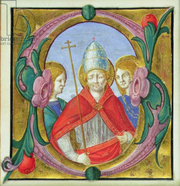 Historiated initial 'S' depicting St. Gregory and two Saints (vellum)