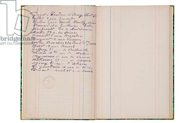 Double page of addresses from Monet's book of accounts, 1882-1912 (pen & ink on paper)