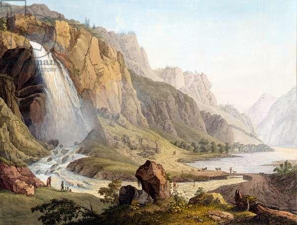 View of the Cascade de Pissevache, c.1789 (coloured engraving)