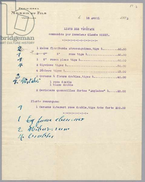 List of plants ordered by Claude Monet to the tree nursery Moser & Fils, 1923 (ink on paper) (recto for verso see 233964)