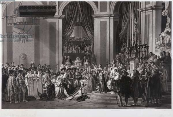 The Consecration of the Emperor Napoleon I and the Coronation of the Empress Josephine in the Cathedral Notre-Dame of Paris, 2nd December 1804, after the painting by Jacques Louis David (engraving)