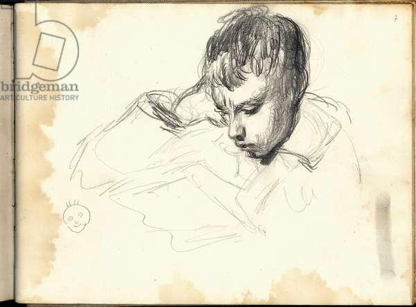 Michel Monet (1878-1966) reading (pencil on paper)