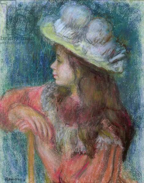 Seated Young Girl in a White Hat, 1884 (pastel on paper)