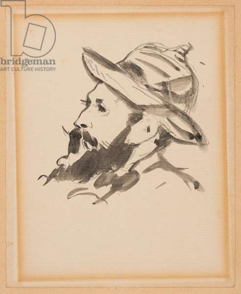 Head of a Man, Portrait of Claude Monet, 1874 (Chinese ink wash on paper)