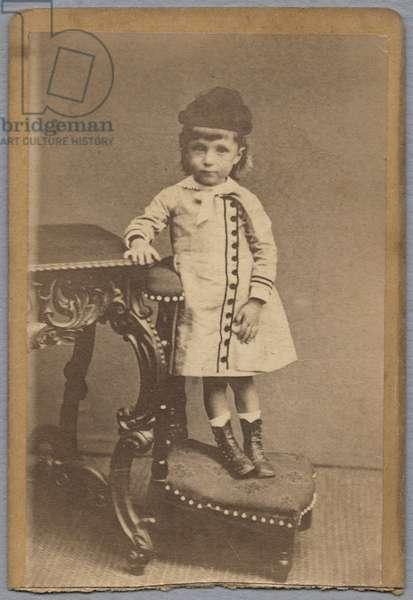 Visiting card depicting Jean Monet (1867-1914) 1871 (albumen print) (b/w photo)