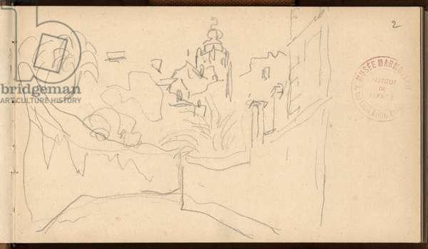Citta alta at Bordighera, c.1884 (pencil on paper)