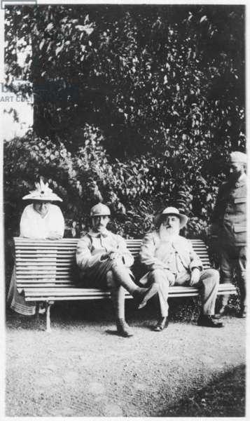 Blanche Hoschede, Michel Monet, Claude Monet and Jean-Pierre Hoschede, 1916 (b/w photo)
