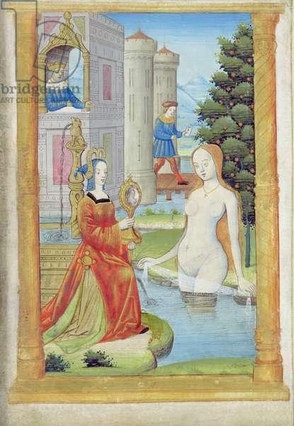 Bathsheba Bathing (pen and gouache on paper)