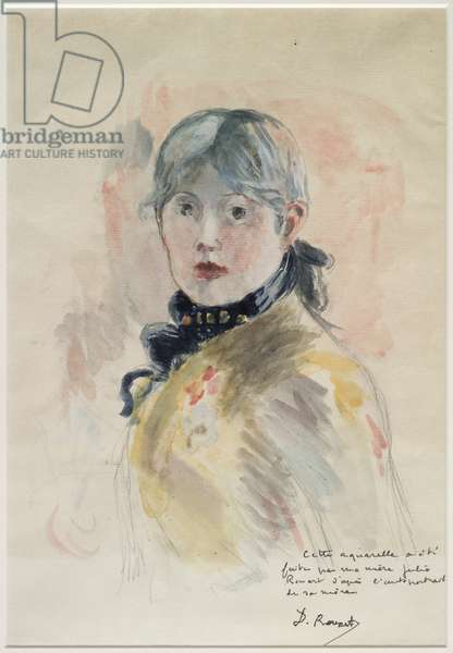 Portrait of Berthe Morisot, after Morisot's self portrait (w/c on paper) (see also 3709911)