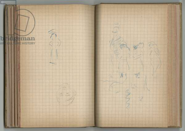 Sketches, from a sketchbook, 1885, 1887-88 (black & blue pencil on paper)