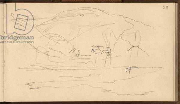 Valley of Falaise seen from a distance (pencil on paper)