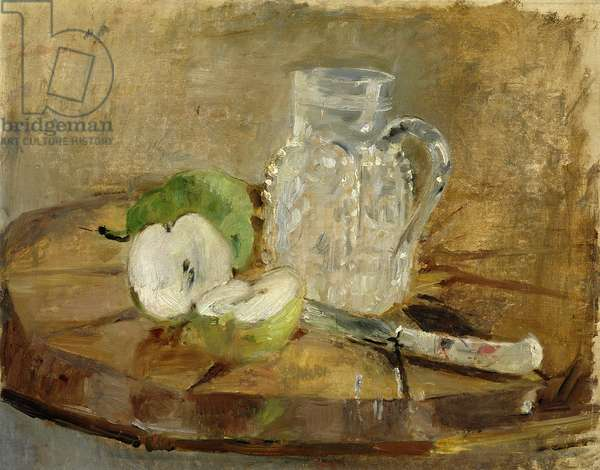 Still Life with a Cut Apple and a Pitcher, 1876 (oil on canvas)