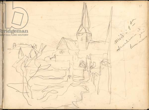 Church of Bennecourt (pencil on paper)