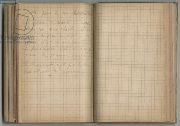 Handwritten page, from a sketchbook, 1885, 1887-88 (pencil on paper)