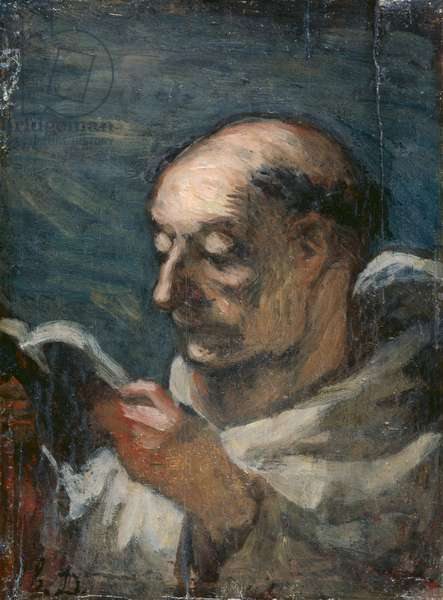 Monk Reading (oil on canvas)