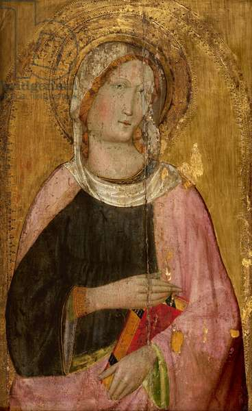 Female saint holding a book (tempera & restored gold leaf on panel)