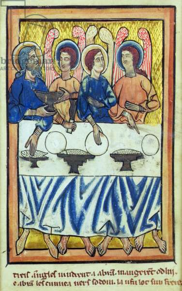 Abraham and the three angels, from a book of Bible Pictures, c.1250 (vellum)