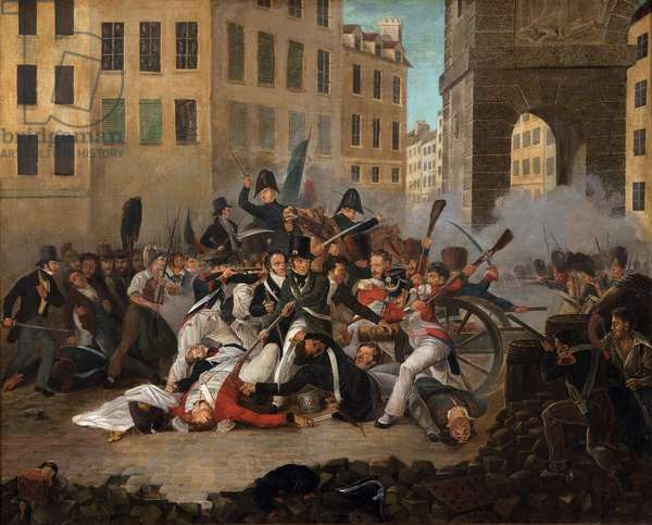Battle in a street, July 1830 (oil on canvas)