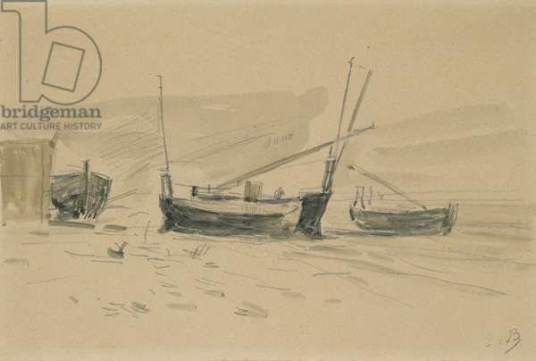 Small Beached Boats (w/c & graphite on paper)
