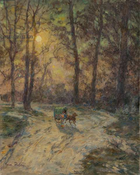 Cart in a wood (oil on canvas)