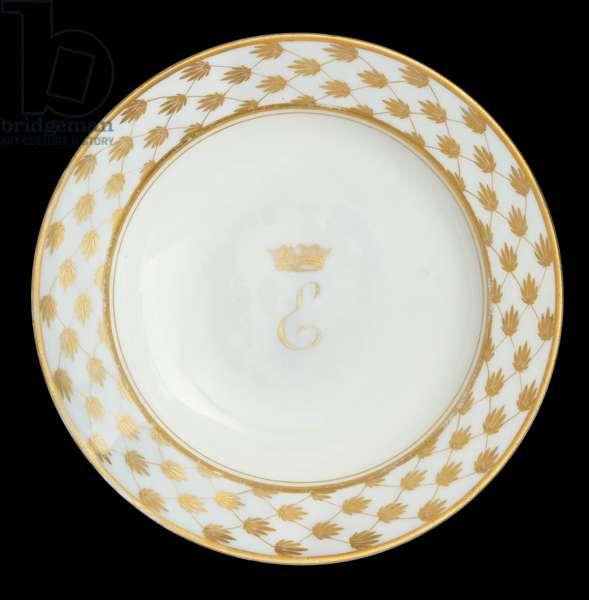 Plate with the monogram of Elisa Bonaparte, Grand Duchess of Tuscany, Richard-Ginori Doccia Manufactory (hard-paste porcelain & gilded decoration)