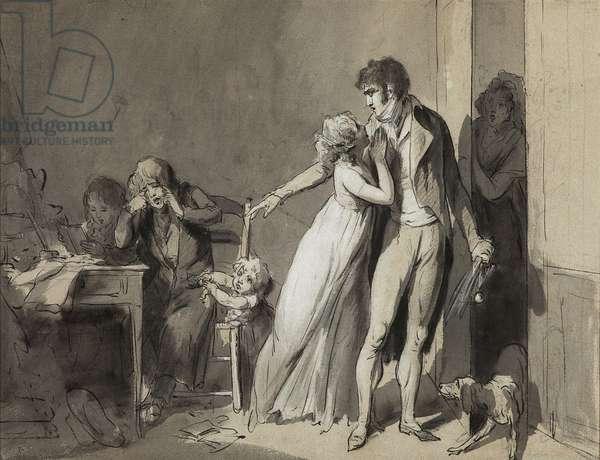 Punished child, c.1802 (pen & ink & wash on paper)