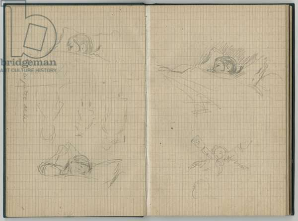 Young girl sleeping, 'le petit biche', from a sketchbook, 1886 (pencil on paper)