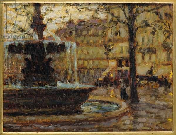 La fontaine, Paris, 1904 (oil on panel)