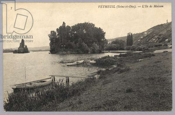 Postcard sent to Madame J. Monet depicting the island of Moisson, Vetheuil (Seine et Oise) (b/w photo) (recto for verso see 233966)