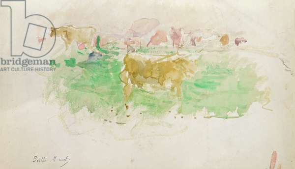Cows in Normandy, 1880 (w/c on paper)