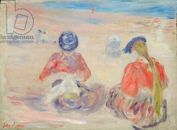 Paule (1867-1946) and Jeannie Gobillard (1877-1970) on the Beach at Dinard (oil on panel)