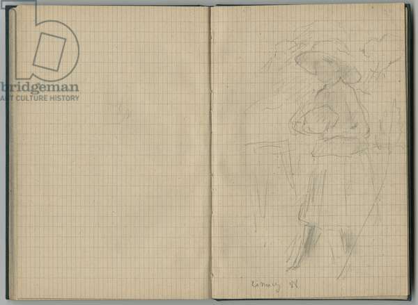 Julie Manet at Cimiez, from a sketchbook, 1888 (pencil on paper)