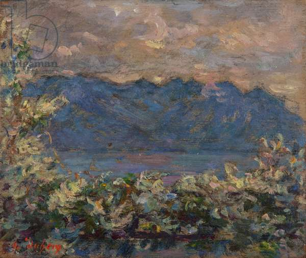 Mont Riant above Vevey (oil on panel)