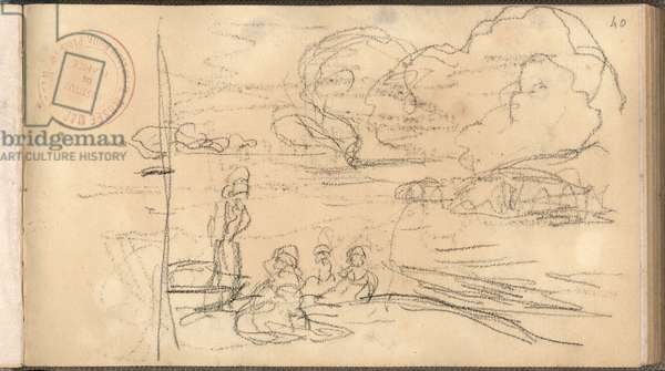 The Monet Hoschede Family on the Island of Nettles (pencil on paper)