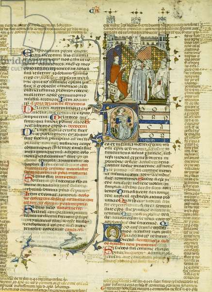 A Bishop, accused of simony by two fornicators, speaks in his own defence in front of the archbishop from an other province c.1340 (vellum) (see also 215696)